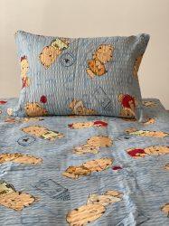 Krepp kék cicás gyermek ágyneműhuzat garnitúra  (2 részes)
