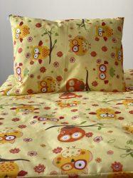 Anita gyermek ágyneműhuzat garnitúra (2 részes, pamut-poliészter) sárga baglyos