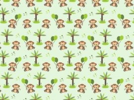 Anita gyermek ágyneműhuzat garnitúra (2 részes, pamut-poliészter, zöld majmocskás)